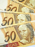 Brazilian money. A set of brazilian money that can be used as background stock photography