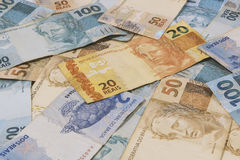 Brazilian money background. Bills called Real. Royalty Free Stock Photography