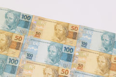 Brazilian money with blank space. Bills called Real, different values. Stock Photo