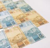 Brazilian money with blank space. Bills called Real, different values. Royalty Free Stock Photography