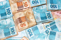 Brazilian money in packages Royalty Free Stock Photos