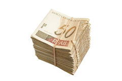 Brazilian money pile Royalty Free Stock Photography
