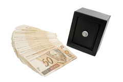 Brazilian money and safe Stock Photos