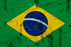 Brazilian National Flag On Grunge Wall Background. National Flag on Abstract Grunge Wall Background Royalty Free Stock Photo