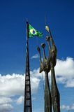 Brazilian national flag and statue at the Square of the Three Powers Stock Image