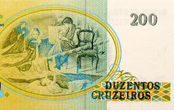 Brazilian paper money two hundred cruzeiros as background and te Royalty Free Stock Photos