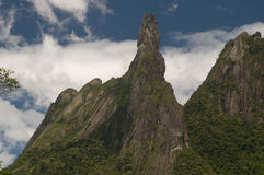 Brazilian Parks. The God's Finger Rock at Serra dos Orgãos National Park, on e of the most beautiful parks in Brazil. It is a 1,700 meters rock Stock Photo