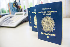 Brazilian passport. The Brazilian passport is the official document for foreign travel issued by the Brazilian government, through the Brazilian Federal Police Stock Image