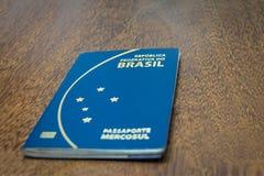 Brazilian passport on wooden background Royalty Free Stock Photography