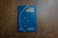 Brazilian passport on wooden background Stock Image