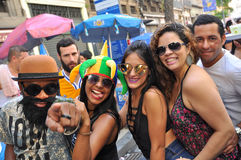 Brazilian People Celebrating Carnival in the Street Royalty Free Stock Photography