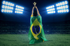 Brazilian player with flag and cup 1 Stock Image