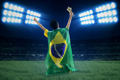 Brazilian player with flag and cup Stock Photography