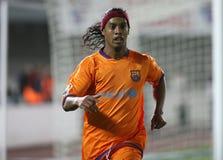 Brazilian player Ronaldinho during a gameplay in Mallorca. Brazil striker Ronaldinho gestures his league match in mallorca. Ronaldo de Assis Moreira is a stock photography