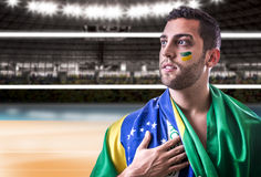 Brazilian player on the volleyball court Royalty Free Stock Photo