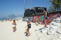 Brazilian Police Surveillance Trucks Ipanema Beach Rio Royalty Free Stock Photo