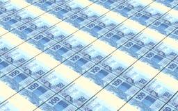 Brazilian reais bills stacks background. Stock Photo