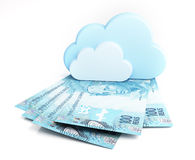 Brazilian real banknotes under clouds Stock Photo