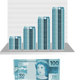 Brazilian real bill note. Brazilian real bill graph  illustration Royalty Free Stock Photography
