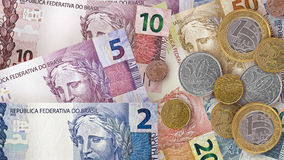 Brazilian Real Bills Background Royalty Free Stock Images
