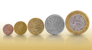 Brazilian real coin Growth Graph Stock Photos