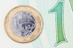 1 brazilian Real Stock Photo