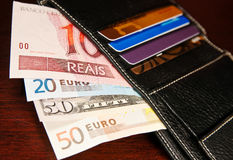 Brazilian real, euro and dollars Royalty Free Stock Images