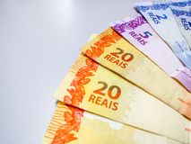 Brazilian real notes 2 to 20 reais royalty free stock image