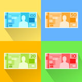 Brazilian Real Set Banknote Flat Design with Royalty Free Stock Photo
