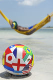 Brazilian Relaxing with Soccer Football in Beach Hammock Royalty Free Stock Image
