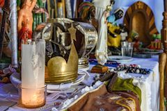 Brazilian religious altar mixing elements of umbanda, candomblé and catholicism. In the syncretism present in the local culture and religion stock images