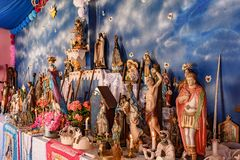 Brazilian religious altar mixing elements of umbanda, candomble and catholicism. In the syncretism present in the local culture and religion royalty free stock photography