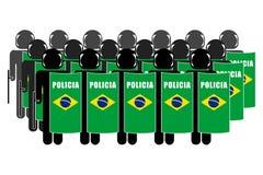 Brazilian Riot Police. Silhouette of Brazilian Anti-Riot Police Royalty Free Stock Photography