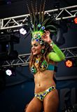 Brazilian samba dancer on a stage sensually moving Royalty Free Stock Photos