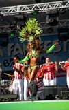 Brazilian samba dancer on a stage sensually moving Royalty Free Stock Image
