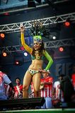 Brazilian samba dancer on a stage sensually moving Stock Images