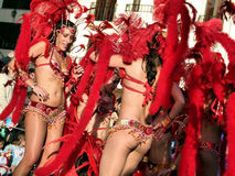 Brazilian samba dancers Stock Images