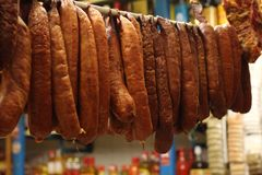Brazilian Sausage at the market stock photo