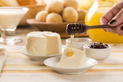 Brazilian sheep cheese. Fruits and different types of cheese in Stock Image