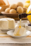 Brazilian sheep cheese. Fruits and different types of cheese in Stock Images