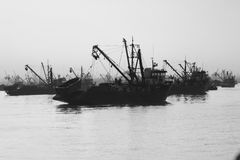 Brazilian Ships Trawlers. Anchored in the bay in Peru.  blue and white color Royalty Free Stock Photo