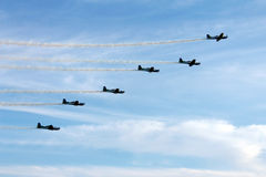 Brazilian Smoke Squadron. Brazilian Air Force on Aerial Demonstration of Smoke Squadron. They celebrated the 70th birthday of the Air Force Base of Salvador de Royalty Free Stock Image