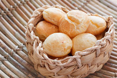 Brazilian snack cheese bread (pao de queijo). In wicker basket on wooden table. Selective focus Royalty Free Stock Image