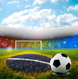 Brazilian Soccer. Soccer ball on penalty disk in brazilian stadium Royalty Free Stock Photos