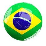 Brazilian soccer ball. 3d soccer ball and brazil flag isolated on white Stock Images