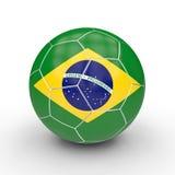 Brazilian soccer ball. Soccer ball brasil flag 3d rendering image Royalty Free Stock Image