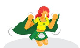 Brazilian soccer fan cheering with Brazil national flag vector i Royalty Free Stock Image