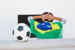 Brazilian soccer fan watching tv. Rear view of Brazilian soccer fan watching tv Stock Photo