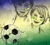 Brazilian soccer fans on grunge background Royalty Free Stock Images