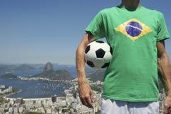 Brazilian Soccer Football Player Rio de Janeiro Skyline Stock Photography